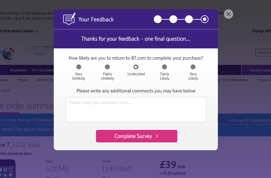 An exit overlay on BT.com
