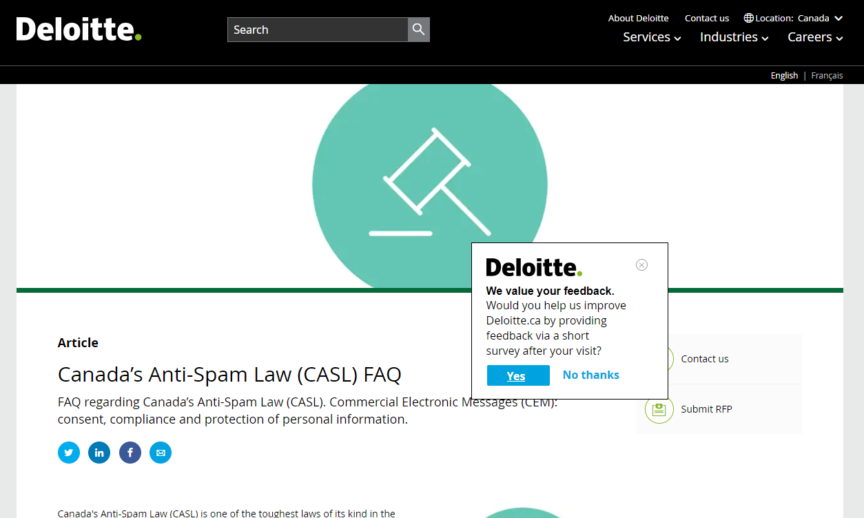 "An intercept survey on Deloitte.ca. The visitor must first click on ""Yes"" before she can access the survey itself."