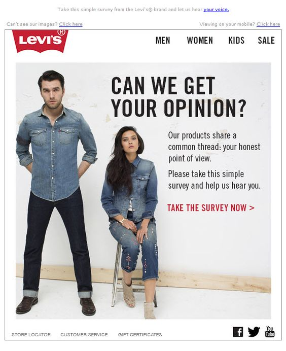 Example of an email survey sent by Levi's