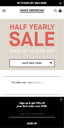 A mobile popup on Goodamerican.com, a leading Shopify store
