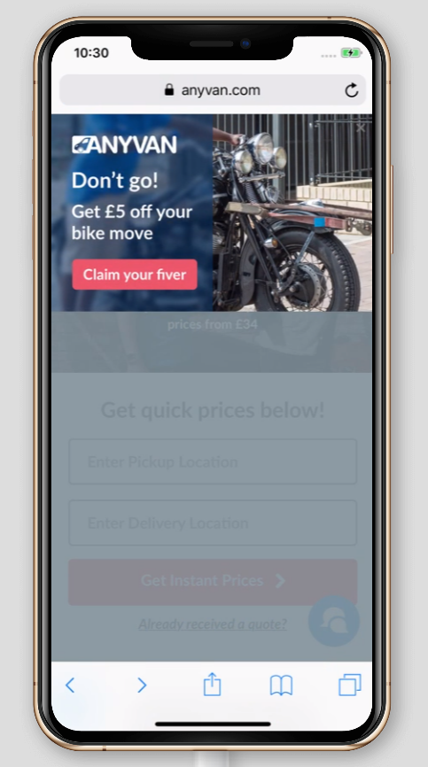 A mobile exit popup on anyvan.com