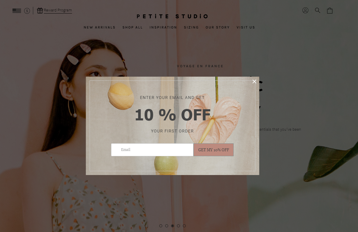 A Shopify email popup on Petite Studio's website