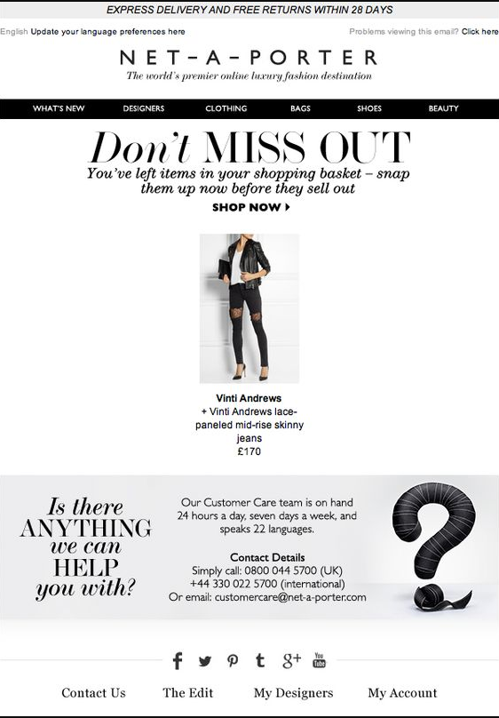 Net-a-Porter's abandoned cart email