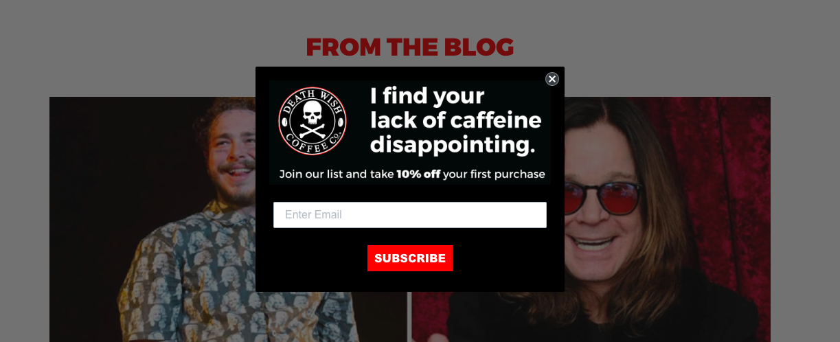 Death Wish Coffee's Shopify exit popup