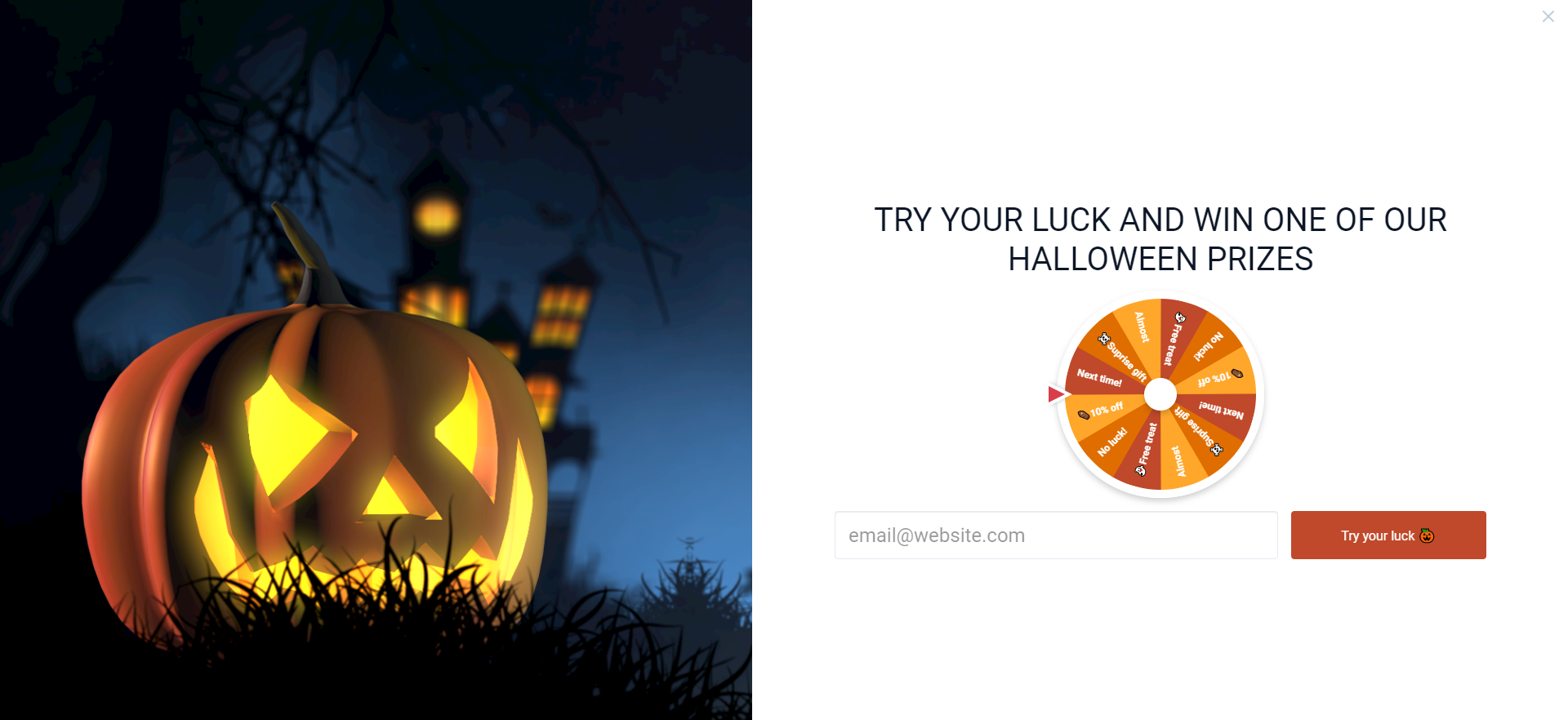 Halloween spin to win pop-up