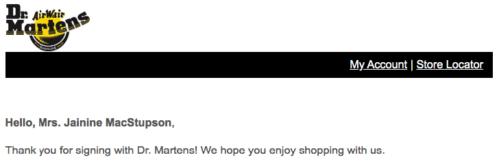 Dr Martens' welcome email