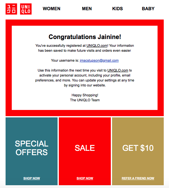Uniqlo's welcome email