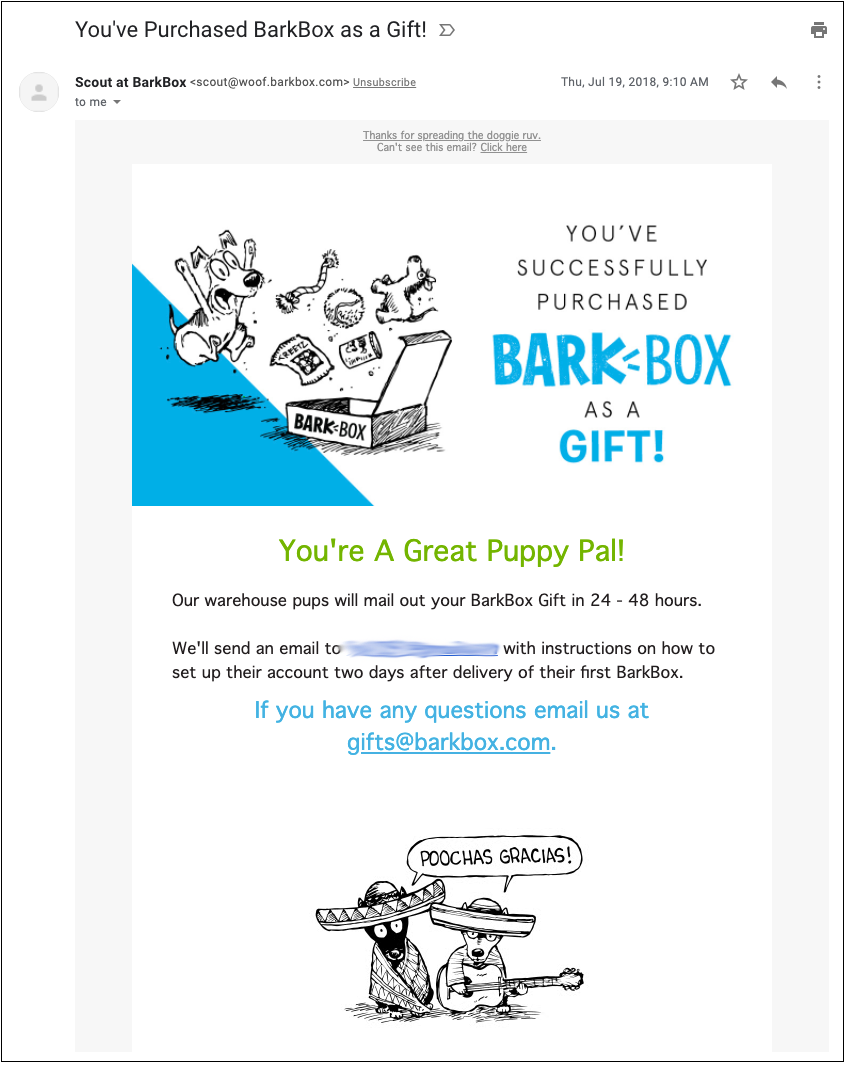 A purchase confirmation email sent by Barkbox