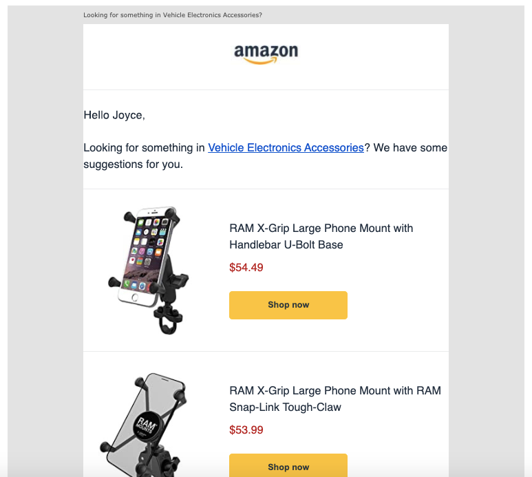 Amazon - Post browsing email
