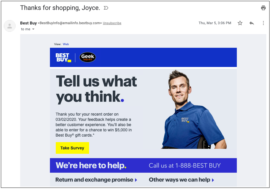 Best Buy's post purchase email