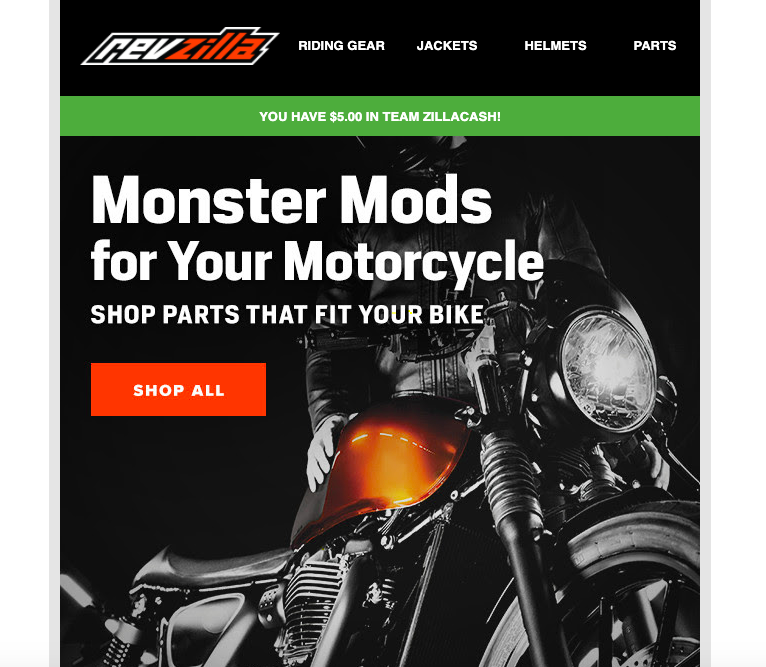 CTA example - Revzilla's email