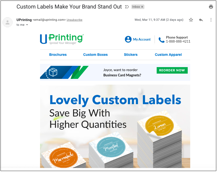 Uprinting's post purchase email