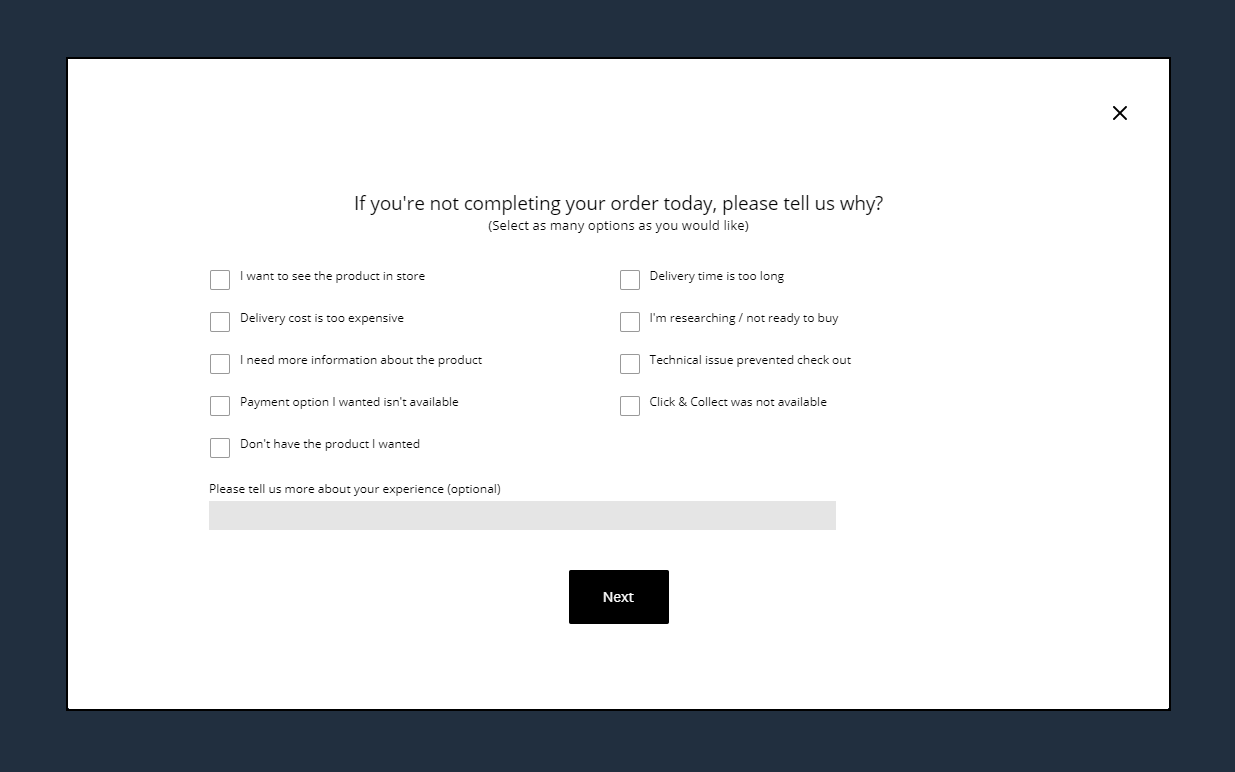 A website exit survey displayed on Freedom.com.au