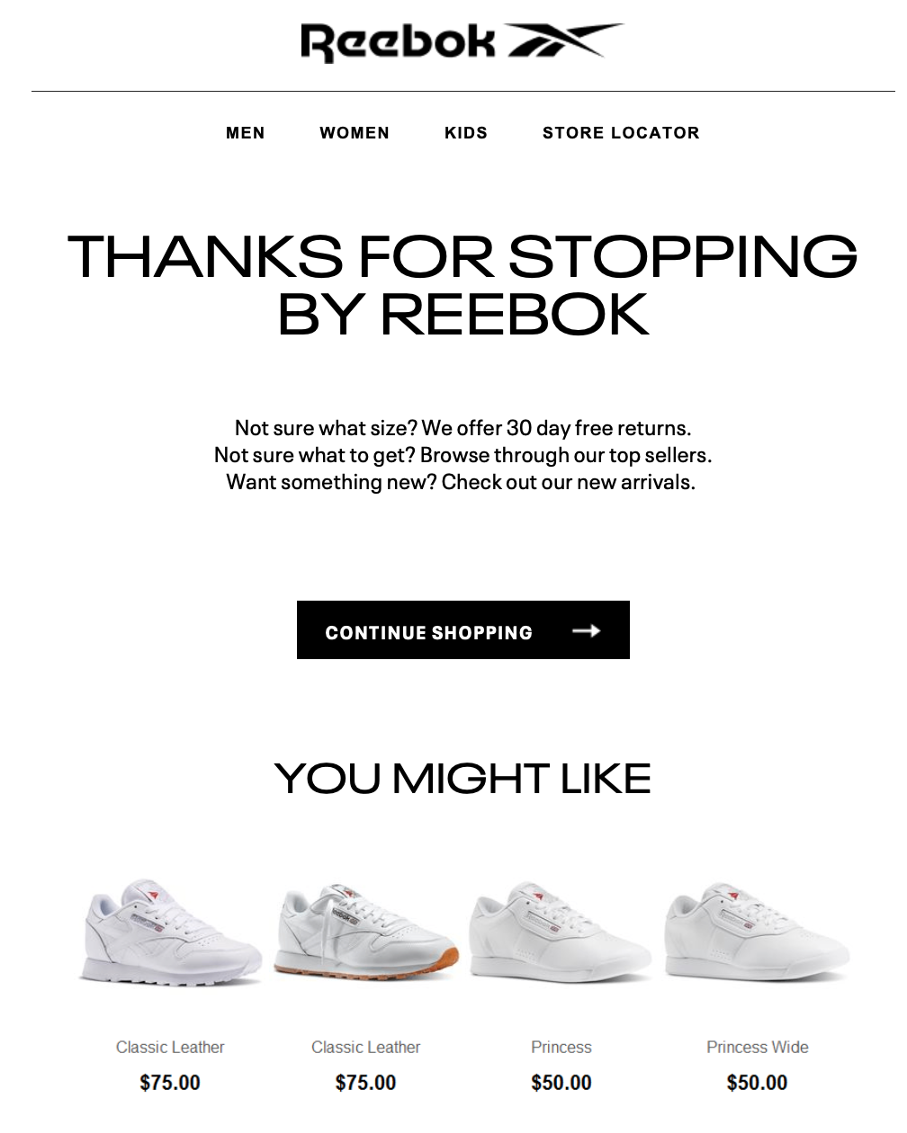 an abandoned cart email sent by Reebok