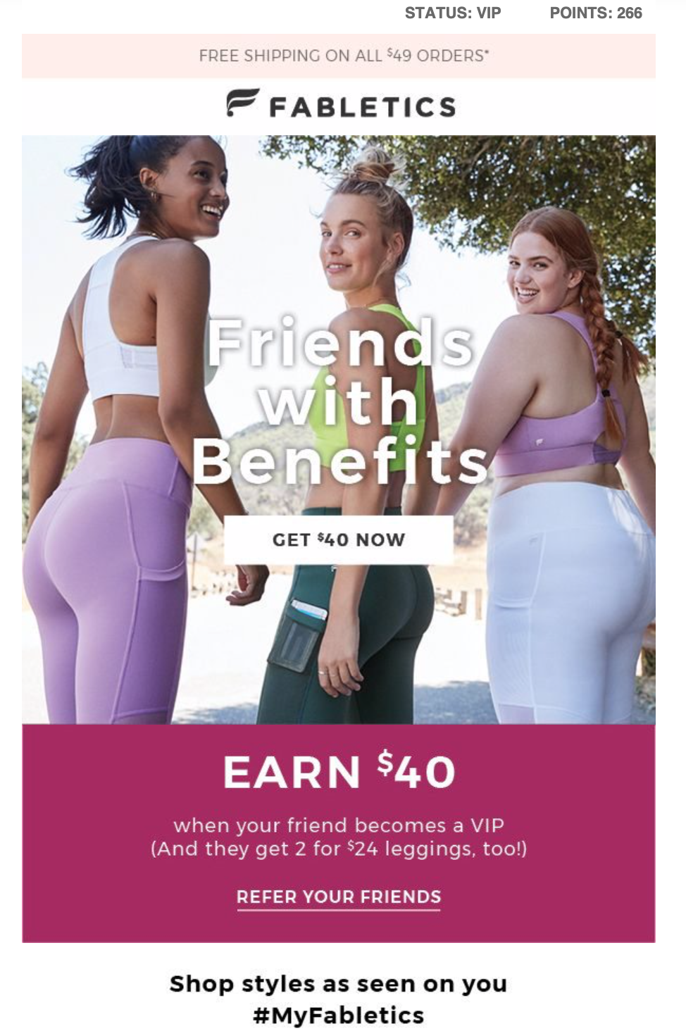 An email sent by Fabletics to promote their referral program