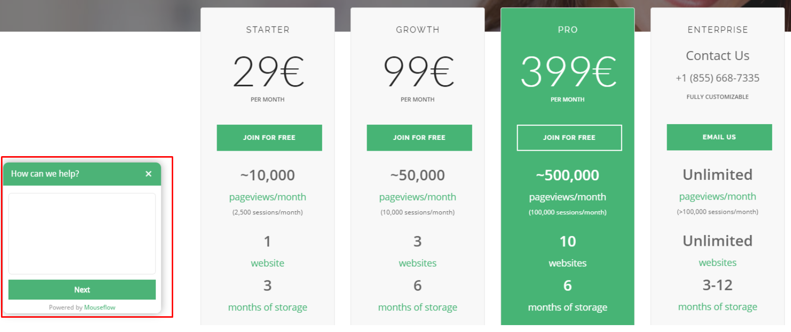 A survey on mouseflow's pricing page