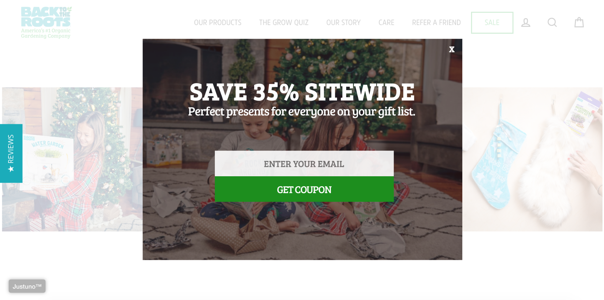 A lead generation form offering a discount on Back to The Roots