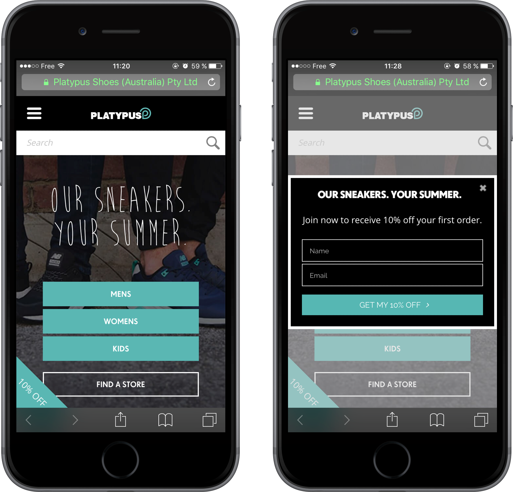 A mobile-friendly lead form on Platypus shoes' website