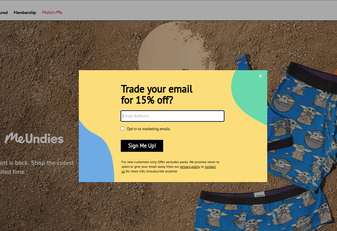 An email popup on Meundies.com
