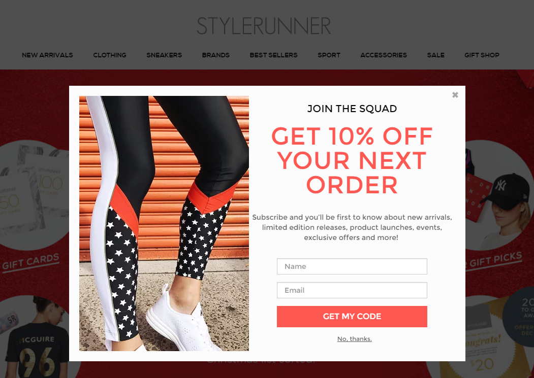 A popup offering a 10% discount to new subscribers on Stylerunner.com
