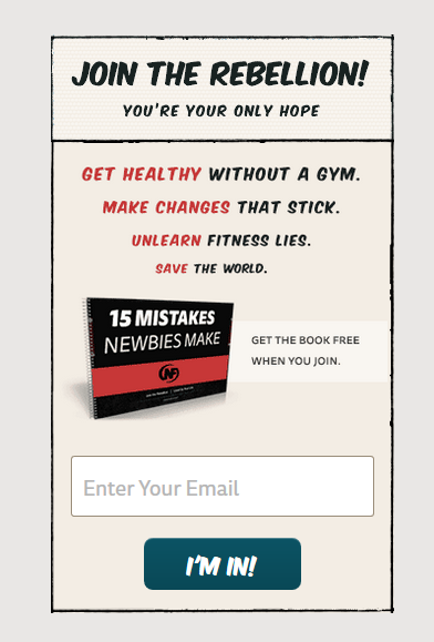 A newsletter form using convincing words on nerdfitness.com