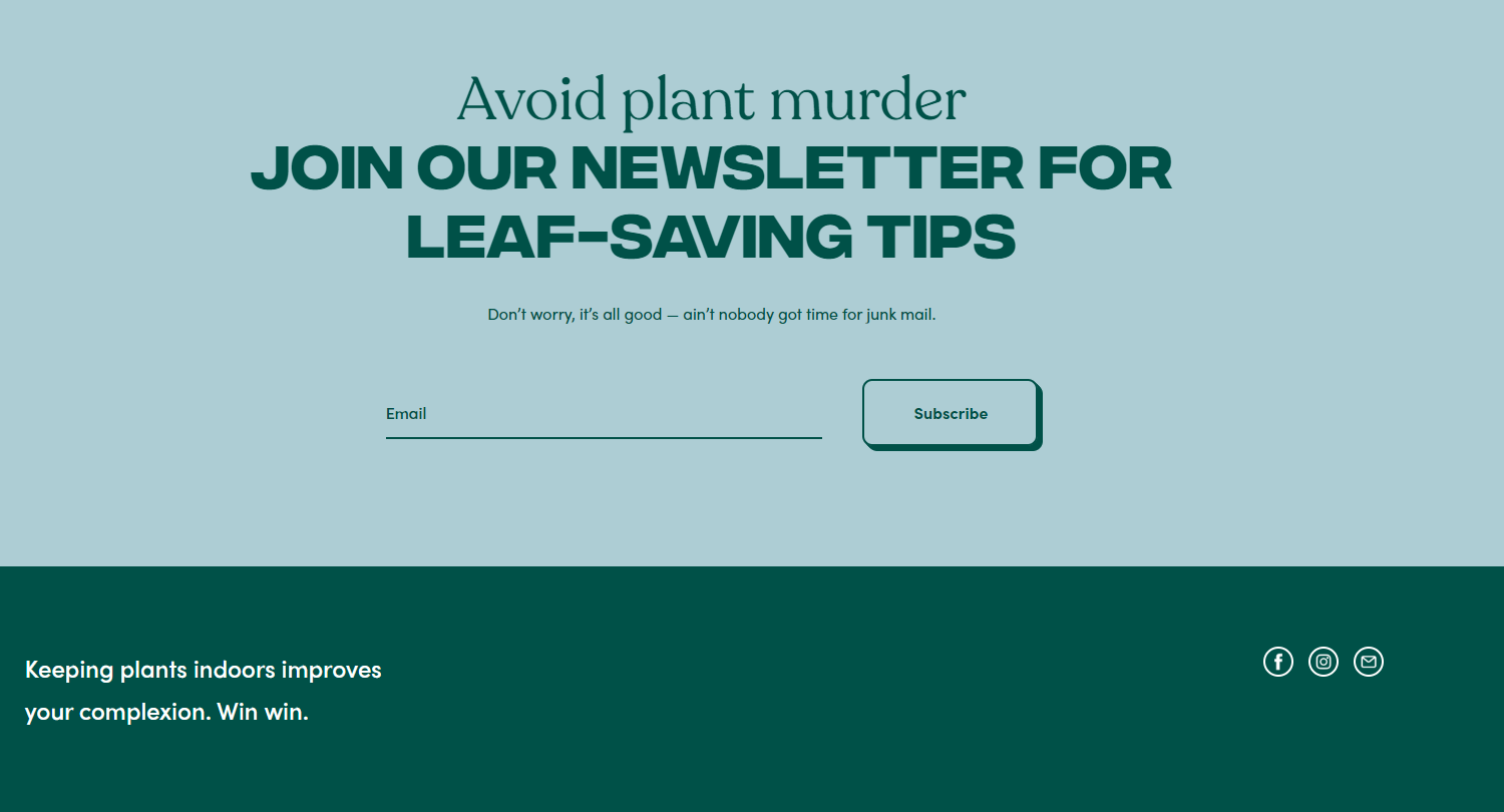 an email form on theplantpeople.com.au