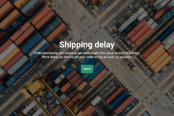 Shipping update popup template