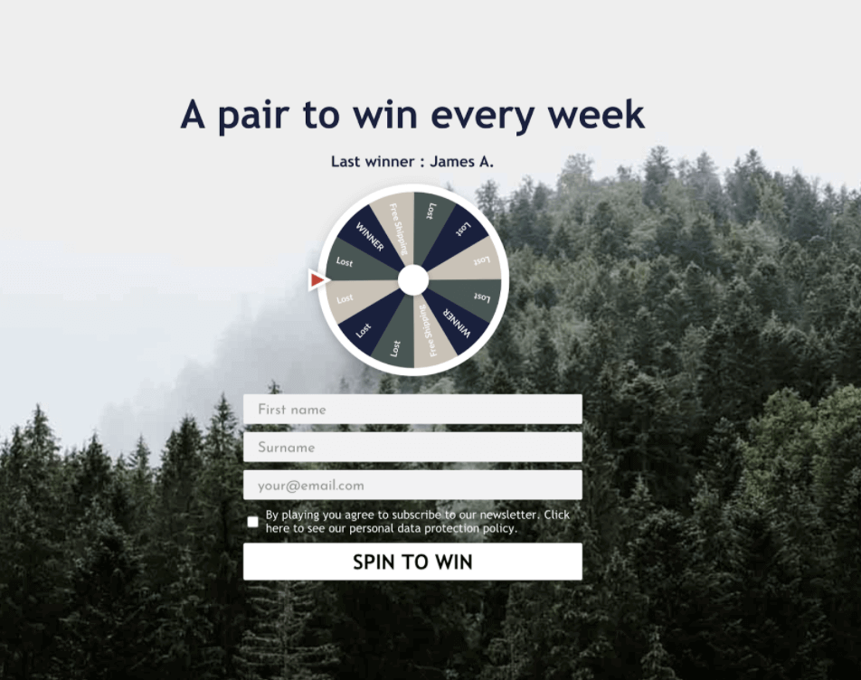Spin the Wheel popup