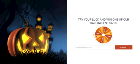 Halloween spin-to-win popup