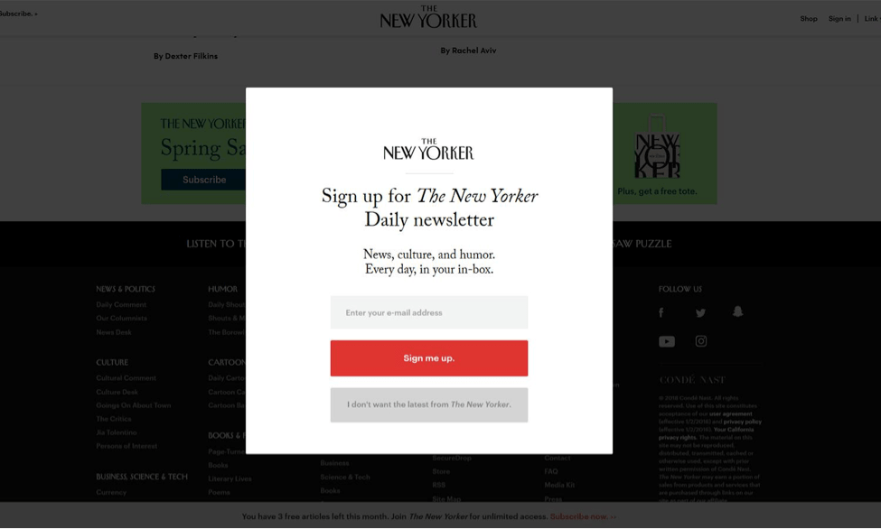 The New Yorker popup