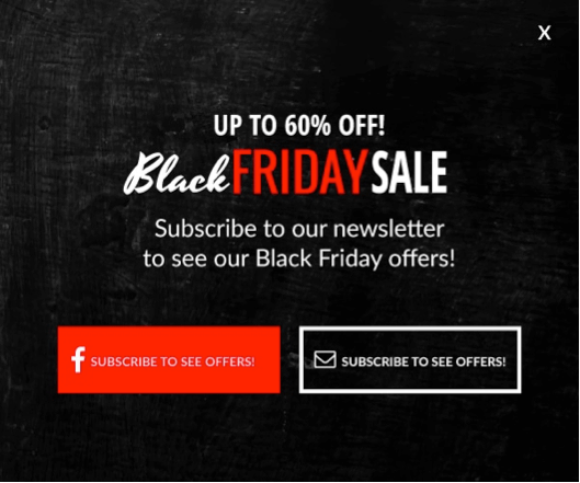 Black Friday email popup example