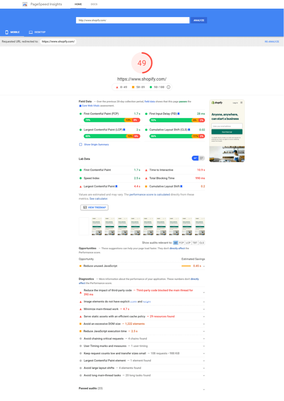 Shopify page speed test