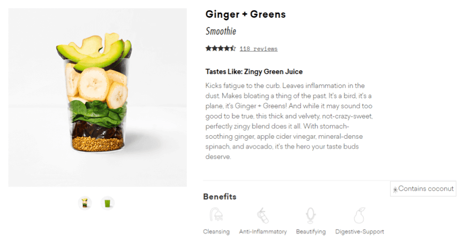 Power words example for Ginger and Greens smoothie